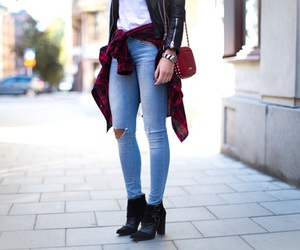 black, jeans, and boots image