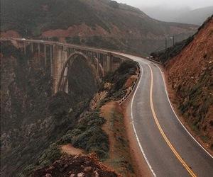 bridge, cliffs, and landscape image