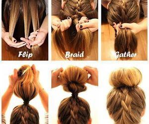 how to, cute hairstyle, and braid bun image