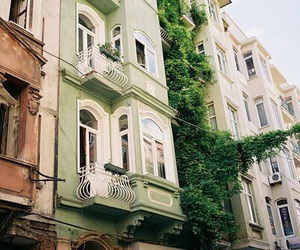 green, city, and white image