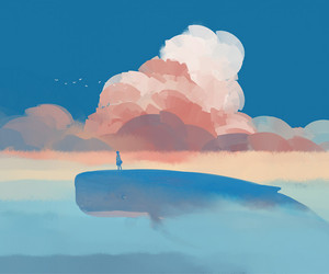 whale, art, and clouds image