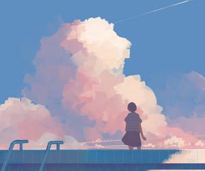 anime, girl, and sky image