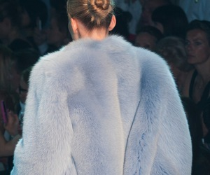 fashion, runway, and blue image