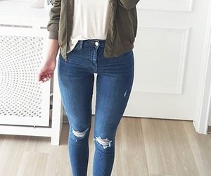bomber jacket, green jacket, and silver shoes image