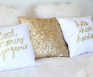 pillow, gold, and bed image