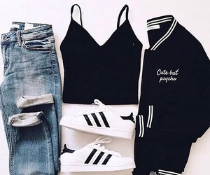 adidas, black, and blue image