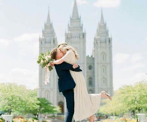 bride and groom, kiss, and couple image