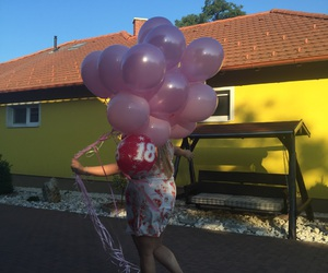 balloons, gift, and happy birthday image