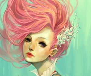 girl, pink hair, and illustration image