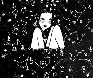 astrology, black and white, and doll image