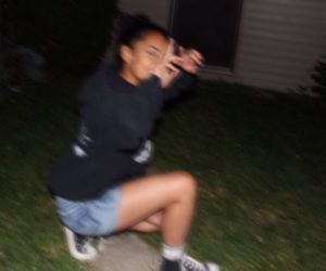 black, blurry, and girl image