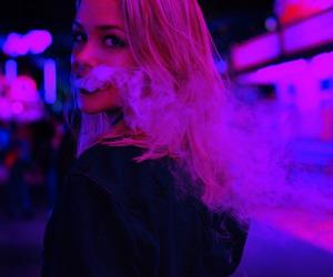 girl, smoke, and purple image
