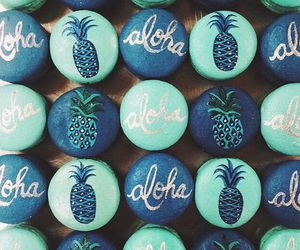 Aloha, blue, and pineapple image