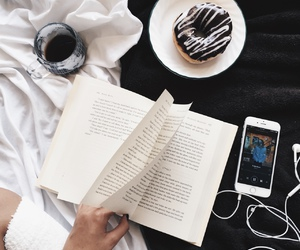 book, donuts, and music image