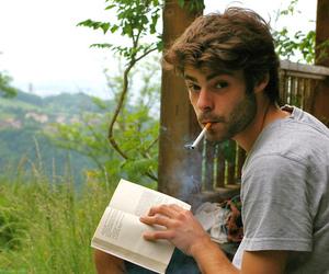 boy, book, and cigarette image