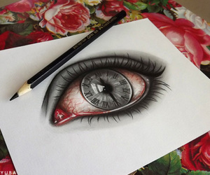 drawing, eye, and clock image