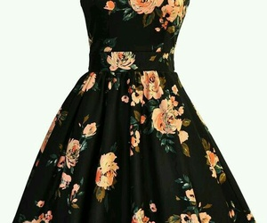 black, dress, and roses image