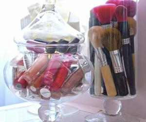 glass jar, Lipsticks, and makeup storage image