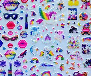 sticker, rainbow, and unicorn image