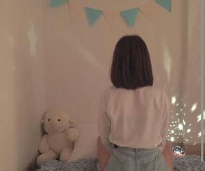 bear, girl, and night image
