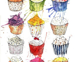 cupcake, food, and art image