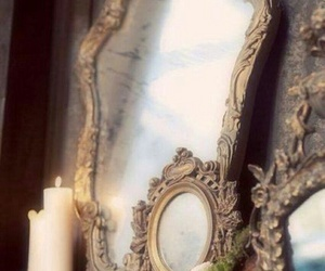 mirror, candle, and vintage image