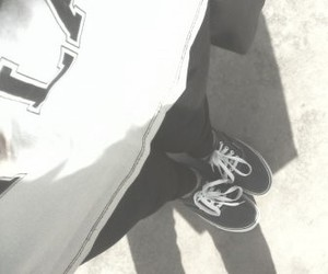 black and white, vans, and sneakers image