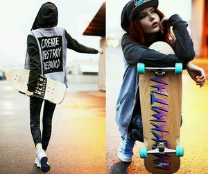 girl, outfit, and skate image