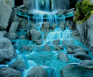blue, photography, and waterfall image