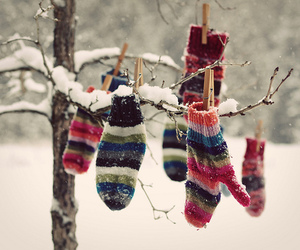 winter, snow, and mittens image