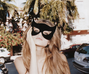 girl, mask, and model image