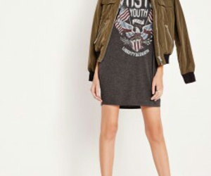 bomber, dress, and t-shirt image