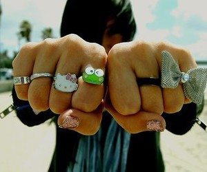 hello kitty, rings, and bow image