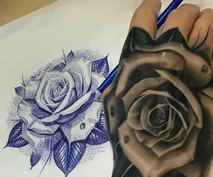 tattoo, dessin, and flowers image