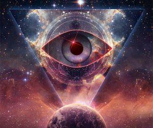 eye, galaxy, and illuminati image