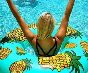 float, girl, and pineapple image