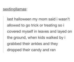 Halloween, trick or treat, and tumblr image