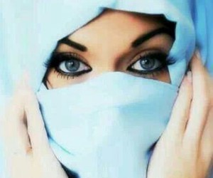 eyes, hijab, and blue image