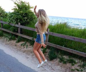 blonde, girl, and jump image
