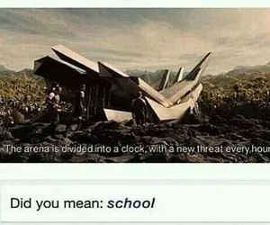 school, funny, and the hunger games image