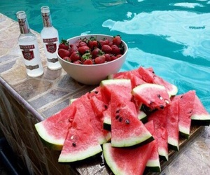 summer, pool, and strawberry image