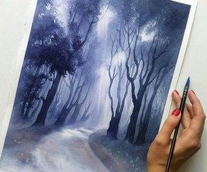 art, forest, and night image