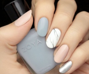 nails, grey, and pink image