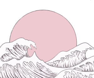 art, pink, and waves image