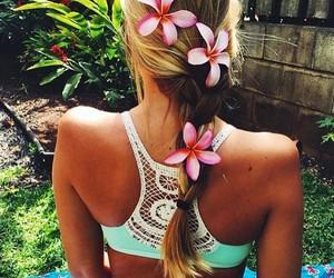 bikini, hair style, and blonde image