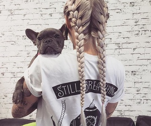 dog, girl, and hair image