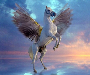 pegasus, horse, and clouds image
