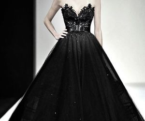 fashion, dress, and black dress image
