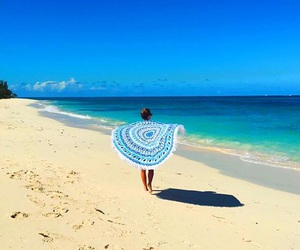 beach, blanket, and blue image
