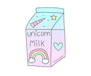 unicorn, milk, and overlay image